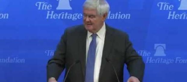 New Gingrich is promoting a new book about Donald Trump. Photo via news2morrow, YouTube.