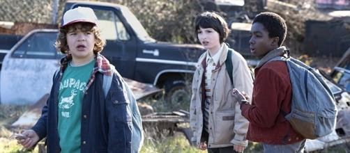 Dustin (Gaten Matarazzo) Mike (Finn Wolfhard), and Lucas (Caleb McLaughlin) in search of Will (Noah Schnapp). (Netflix)