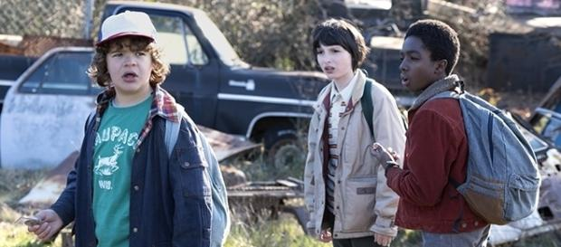 Dustin (Gaten Matarazzo) Mike (Finn Wolfhard), and Lucas (Caleb McLaughlin) in search of Will (Noah Schnapp). (Netflix)