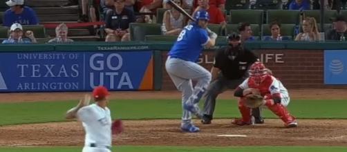 Morales (blue) is ready to hit, Youtube, MLB channel https://www.youtube.com/watch?v=Zc24SJmodiU