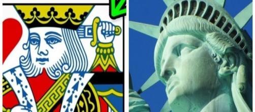 O Rei nas cartas do baralho e a coroa da Estátua da Liberdade. ( Foto: Reprodução)