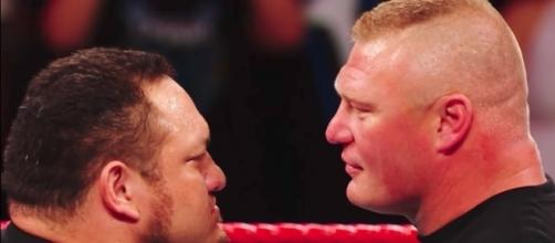 Samoa Joe will battle Brock Lesnar for the WWE Universal title at 'Great Balls of Fire.' [Image via YouTube/WWE]