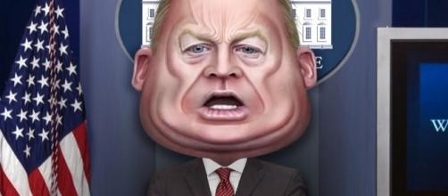 Sean Spicer caricature. [Image via Flickr/Donkey Hotey]