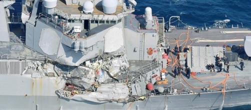 USS Fitzgerald suffered heavy starboard damage from the collision. / from 'The Daily Mail' - dailymail.co.uk