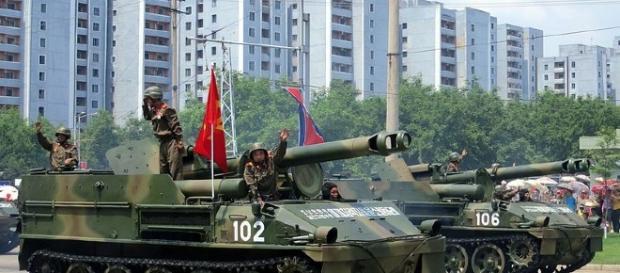 North Korean artillery on parade (wikimedia commons Stefan Krasowski)