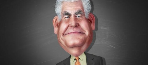 Secretary of state Rex Tillerson's caricature. [Image via Flickr/Donkey Hotey]
