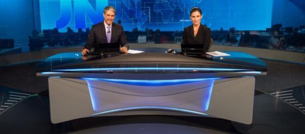 Willian Bonner e Renata Vasconcellos no JN de casa nova (Foto: João Cotta/Globo)