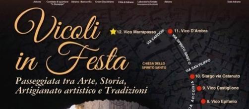 """La locandina dell'evento """"Vicoli in Festa"""" ad Adrano domenica 25 giugno"""