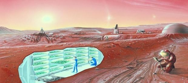 A Mars colony concept / Photo via NASA Ames Research Center , Wikimedia Commons