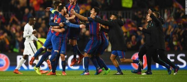 Jogadores do Barcelona comemoram vitória