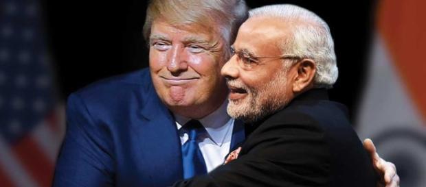 Modi's Friend? Modi and Trump hug. | Image source Youtube