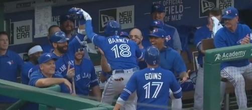 Barney lead the Blue Jays, Youtube, MLB channel https://www.youtube.com/watch?v=GoJ1KvlaacU
