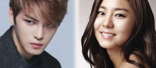 Korean actors Kim Jaejoong and Uee.[Image via C-JeS Entertainment and Pledis Entertainment]