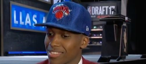 The Knicks selected French point guard Frank Ntilinka with the No. 8 pick in Thursday's NBA Draft. [Image via NBA/YouTube]