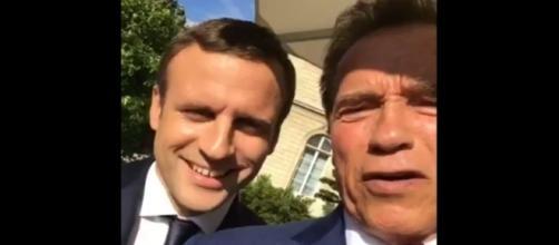 Arnold Schwarzenegger and President Macron, via Twitter