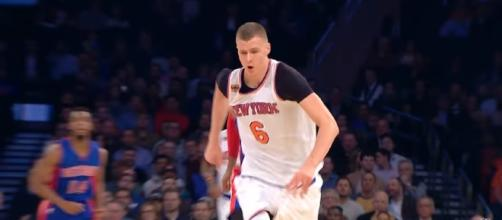 Reports state that the New York Nicks might be looking out to trade Kristaps Porizingis and Joakim Noah at the same time. [Image via Youtube/NBA]