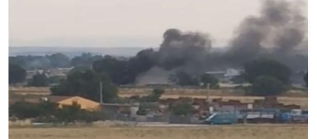 Incendio nei pressi di Foggia .