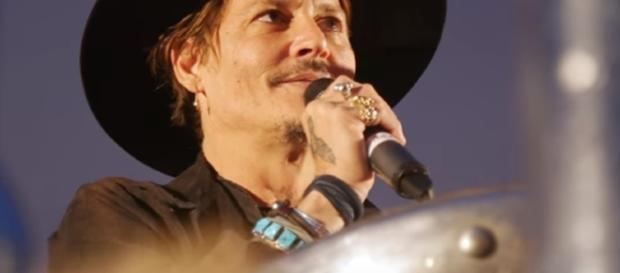 """Johnny Depp at Glastonbury 2017: """"When was the last time an actor assassinated a president? Image: NME   Youtube"""