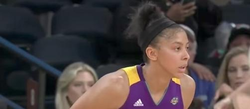 Candace Parker recorded a double-double in the Sparks' win on Saturday over Indiana. [Image via Youtube/ WNBA]