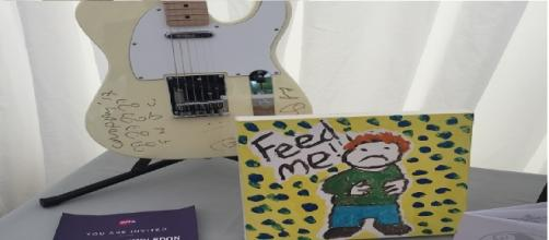 Ed Sheeran donated a picture to the event and Coldplay donated a guitar