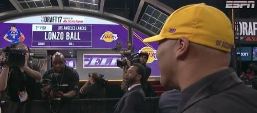 LaVar Ball watches as his son is announced as No. 2 pick by the Lakers in Thursday's 2017 NBA Draft. [Image via NBA/YouTube]