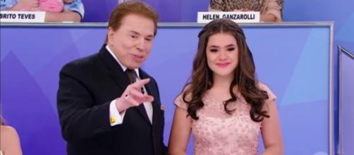 Maisa e Silvio Santos estiveram juntos nesse domingo (Foto: Reprodução)