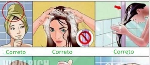 Modo correto de lavar os cabelos tem surpreendido a muitos nas redes sociais. ( Ilustração: Reprodução)
