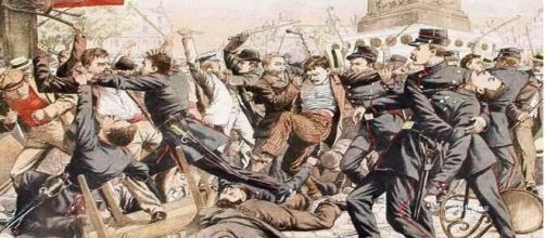 Batalla entre apaches y gendarmes franceses en los Campos Elíseos de París