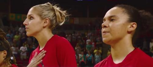 Elena Delle Donne and the Mystics hosted an early afternoon WNBA game on Tuesday. [Image via WNBA/YouTube]