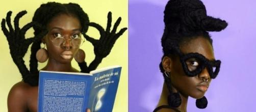 Laetitia KY expressa sua criatividade através de esculturas nos cabelos. Foto: Reprodução/Facebook Laetitia Ky