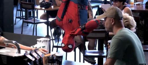 Photo Spider-Man at Starbucks screen capture from YouTube video / Sony Pictures Entertainment
