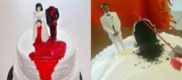 'Bolo de divórcio' é a nova moda entre homens e mulheres que encaram a separação com uma pitada de humor negro. (Foto: Reprodução/Twitter)