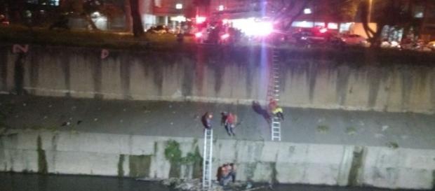 Bombeiros durante resgate a moradores de rua que caíram no rio Tamanduateí, no Parque Dom Pedro, região central de SP (foto: Divulgação / PMESP)