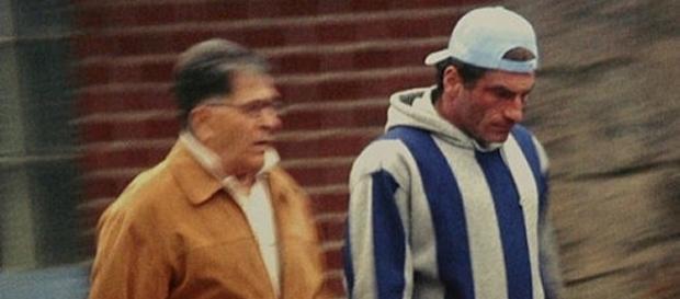 "Image by Wikimedia. FBI surveillance photo of John ""Sonny"" Franzese (left) and John Franzese Jr. (right)."
