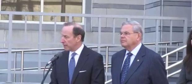 Sen. Bob Menendez with lawyer Abbe Lowell. Photo via NJ.com, YouTube.
