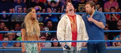 Carmella and James Ellsworth tried to plead their case to Daniel Bryan early on the latest 'SmackDown' episode. [Image via WWE/YouTube]