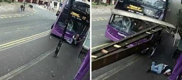 Homem ficou caído no chão com a força do impacto (Foto: Captura de vídeo)