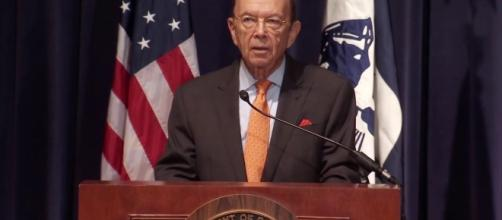 After speaking for more than 20 minutes, Ross was cut off mid-sentence. Photo via US Department of Commerce, YouTube,