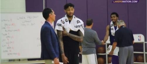 Brandon Ingram during a practice session alongisde Lakers GM Rob Pelinka. Photo by YouTube Screenshot/Lakers Nation