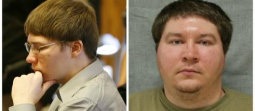 Brendan Dassey sits in court (left), Dassey's current inmate photo, Photos via Tracy Symonds-Keough, Wikimedia Commons and WI Dept of Corrections