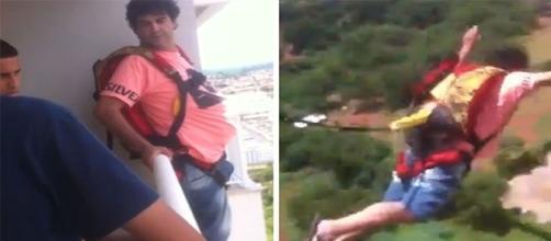 Homem salta de paraquedas da sacada do apartamento