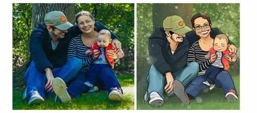 Ilustrações de fotografias em família
