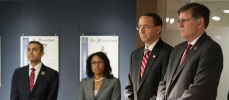 Deputy Attorney General for Department of Justice Rod Rosenstein. (second from right) / Photo by Office of Public Affairs via Flickr | CC BY 2.0