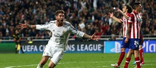 La euforia domina a Sergio Ramos en su celebración.
