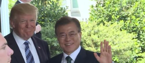 U.S. President Donald Trump and South Korean President Moon Jae-in meet at White House/ Photo via Youtube/New China TV