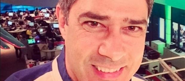 Willian Bonner no estúdio da TV Globo