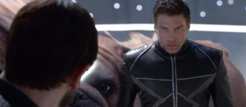 Black Bolt (Anson Mount) is confronted by Maximus (Iwan Rheon) in a scene from 'Inhumans'. /image source BN library
