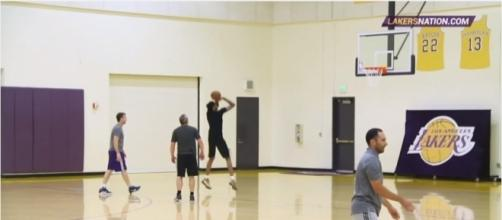Brandon Ingram in shooting motion during a practice session. Photo - YouTube Screensot/@Lakers Nation