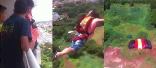 Homem salta de paraquedas da varanda de prédio