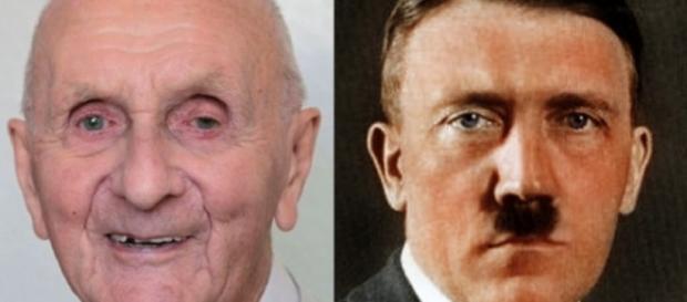 A esquerda Herman Guntherberg, e a direita a imagem de Adolf Hitler. ( Foto:Reprodução)